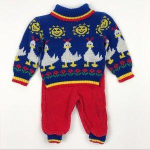 Vintage Hopscotch 90's Knit Duck Cord Pants Outfit